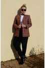 Brick-red-vintage-lacoste-blazer-chanel-sunglasses-white-blouse