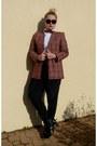Brick-red-vintage-lacoste-blazer-chanel-sunglasses-white-blouse