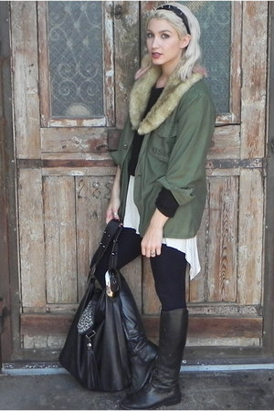 black Steve Madden boots - army green laeken jacket - black H&M sweater