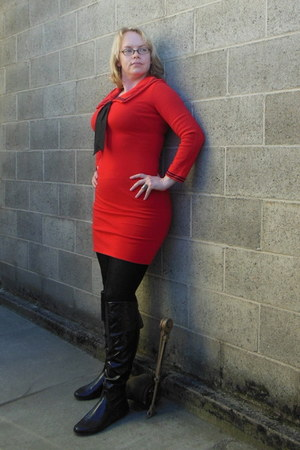 black vinyl Dereon boots - red Don Sophisticates dress - black tights