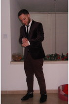black asos shoes - crimson H&M blazer - white castro shirt - black castro tie