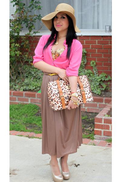 camel Dulce Candy skirt - gold Bakers heels