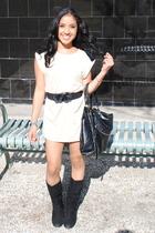 beige Marshalls blouse - black Forever 21 boots