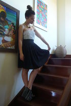 white Zara top - black Mango skirt - red Promod necklace - black Zara shoes
