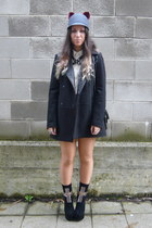 black Jeffrey Campbell boots - black Stradivarius coat - white Zara shirt