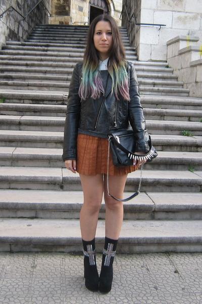 black Jeffrey Campbell boots - black H&M jacket - black Zara purse