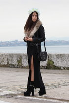 black Jeffrey Campbell boots - black Zara jacket - black Mango bag