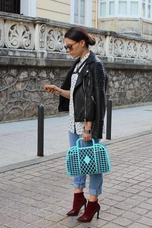 crimson Zara shoes - black leather Zara jacket - white pull&bear shirt