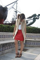 beige Zara vest - red vintage skirt - brown Tck shoes - white double agent t-shi