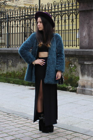 teal faux fur Zara coat - purple H&ampM hat - black asos skirt