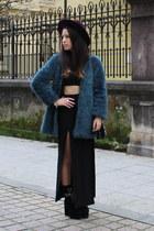 black asos skirt - teal faux fur Zara coat - purple H&ampM hat