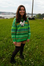 green vintage sweater - black Calcedonia stockings - silver Mango necklace