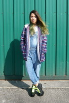 blue vintage coat - black Jeffrey Campbell shoes - blue Mango bodysuit