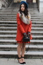 Black-zara-shoes-burnt-orange-zara-coat