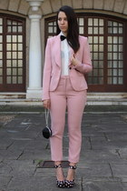 pink Zara suit - black H&M shoes