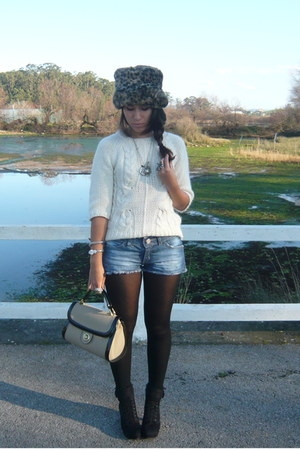 black Promod boots - blue Officio jeans - brown Zara hat - light brown Zara purs