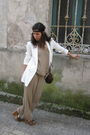 White-zara-blazer-beige-lakra-suit-brown-misako-purse-green-blanco-shoes