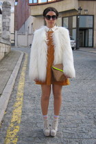 white Zara coat - off white Jeffrey Campbell boots - orange Zara dress