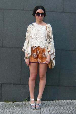 brown Zara purse - white H&amp;M top - orange Zara pants - cream Zara cardigan