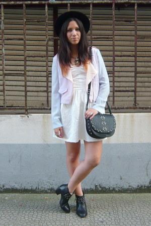 black Zara boots - white Bershka dress - light blue Bershka jacket