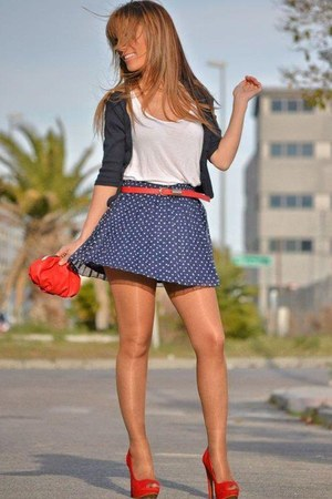 navy skirt - ruby red heels - dark gray cardigan - red accessories - white top