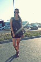 dark gray sandals - brown New Yorker sunglasses - black New Yorker skirt