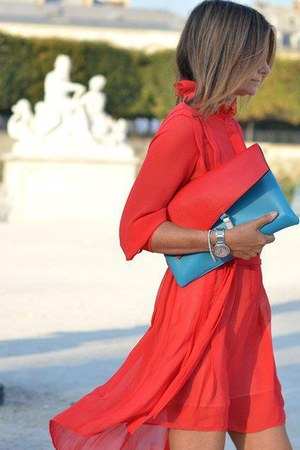 red dress - sky blue bag