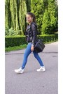 White-random-shoes-blue-bershka-jeans-black-h-m-jacket-gray-h-m-bag