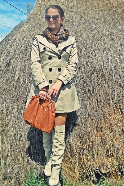 tan boots - beige jacket - burnt orange BLANCO bag - brown New Yorker sunglasses