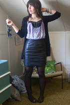 light purple UO shirt - black  cardigan - black leather thrifted skirt - black F