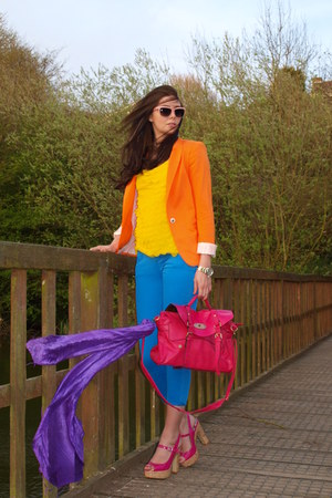 carrot orange Zara blazer - blue cropped skinny Zara Trf jeans