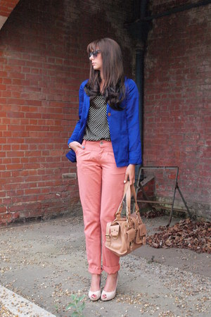 blue boyfriend H&amp;M blazer - nude roxanne Mulberry bag - salmon chinos Primark ro