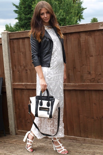ivory asos dress - black Zara jacket - white Ebay bag - white new look heels