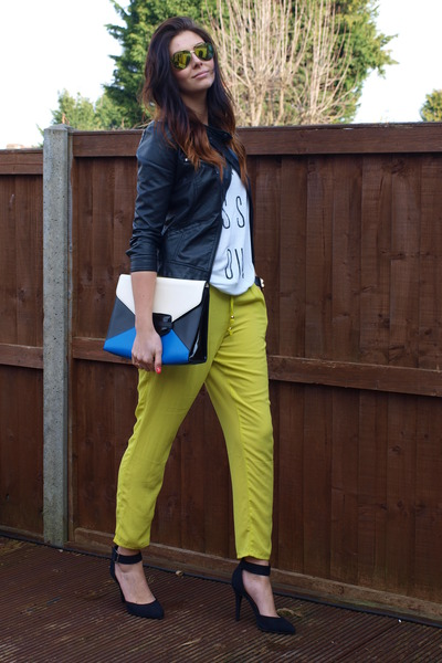 black Zara jacket - blue Topshop bag - white Forever 21 t-shirt
