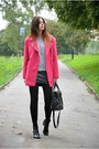 Black-zara-boots-hot-pink-primark-coat-silver-h-m-jumper-black-h-m-skirt