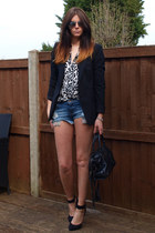 black Zara blazer - black balenciaga bag - blue Zara shorts