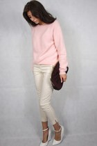 light pink fluffy H&M jumper - brick red Primark bag - peach printed H&M pants