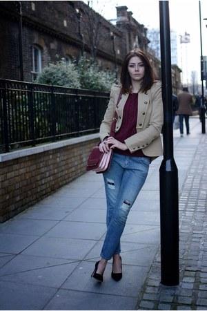 camel Zara jacket - blue Zara jeans - black asos heels