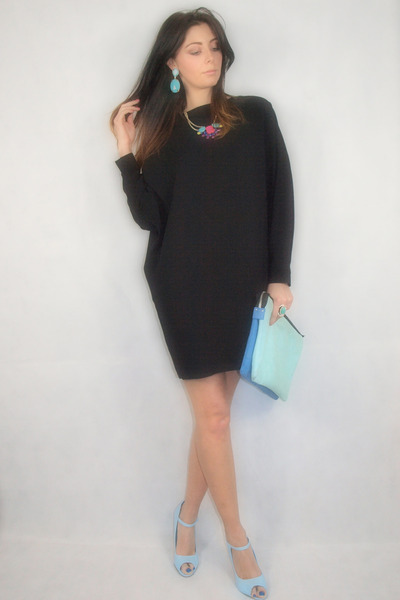 aquamarine Zara bag - light blue Chockers shoes - black asos dress