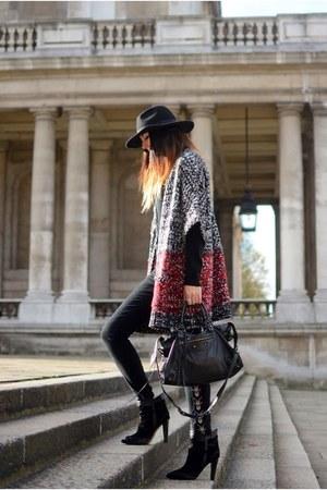 black Primark jumper - black Zara boots - black Forever 21 jeans - black H&M hat