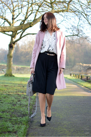 white Zara shirt - pink Betty Jackson coat - heather gray Zara bag