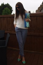 navy warehouse pants - blue Zara bag - black Prada sunglasses - blue Zara heels