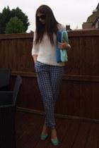 navy warehouse pants - blue Zara bag - black Prada sunglasses - blue Zara heels
