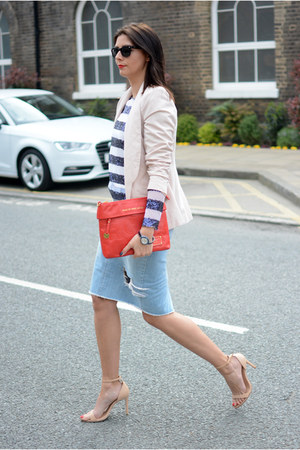 blue romwe top - neutral Primark blazer - ruby red Marc by Marc Jacobs bag