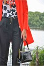 Red-zara-coat-white-fashion-union-shirt-black-asos-pants