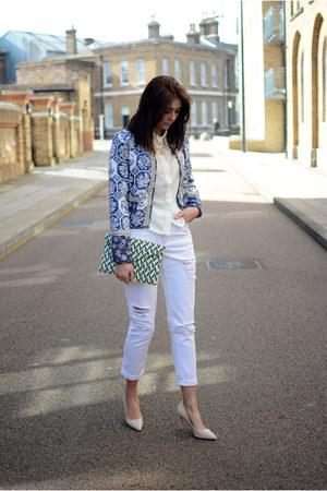 white Boohoo jeans - navy Boohoo jacket - cream Boohoo shirt - yellow Boohoo bag