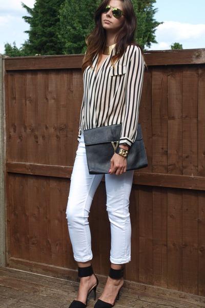 ivory denim ripped Zara jeans - black striped chiffon Ebay shirt