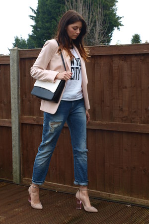 light pink Primark blazer - navy Zara jeans - black Marks & Spencer bag