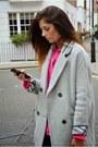 Black-asos-boots-silver-asos-coat-hot-pink-topshop-shirt