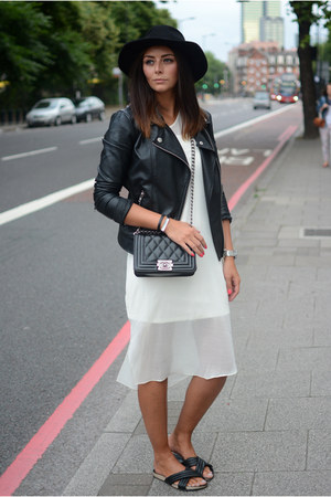 black River Island hat - ivory asos coat - black Forever 21 jacket